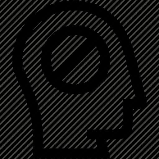 avatar, ban, decline, head, no, profile, silhouette icon