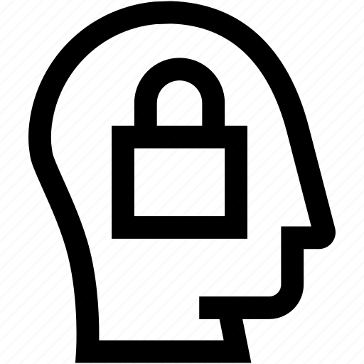 avatar, head, lock, privacy, profile, security, silhouette icon