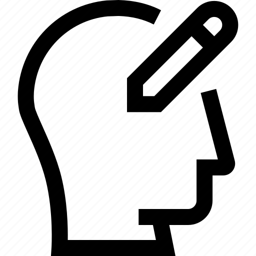 avatar, edit profile, head, pen, profile, silhouette, write icon