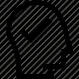 avatar, check mark, head, profile, silhouette icon