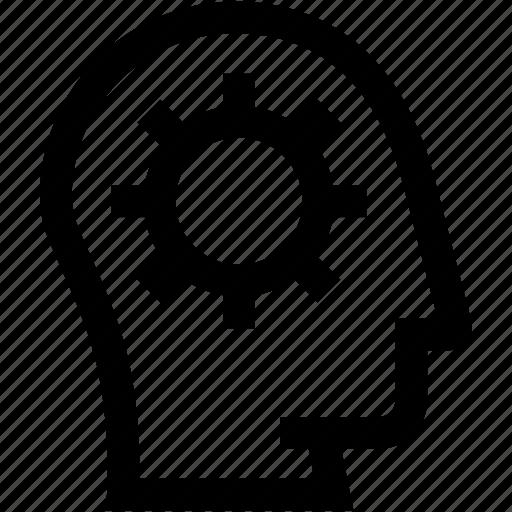 avatar, cogwheel, gear, head, profile, silhouette icon