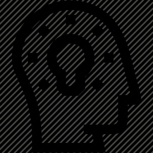 avatar, creativity, head, idea, profile, silhouette icon