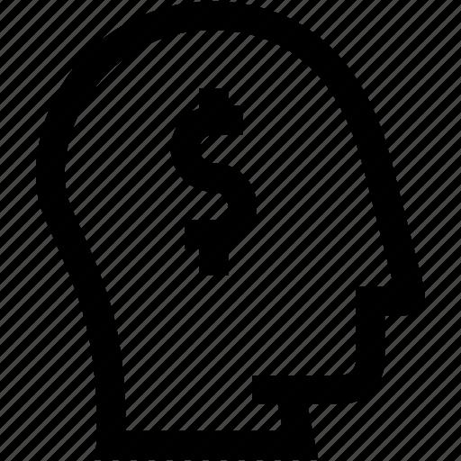 avatar, dolar, employee, head, money, profile, silhouette icon