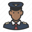 african, airline, avatar, man, pilot icon