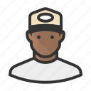 african, avatar, beardless, hat, man, tshirt icon