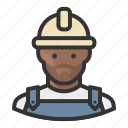 african, avatar, construction, man, worker icon