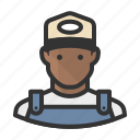 african, avatar, hat, man, overalls icon