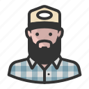 avatar, beard, flannel, hat, man icon