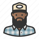 african american, avatar, beard, flannel, hat, man icon