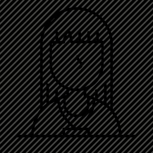 avatar, bangs, female, girl, person, user, woman icon