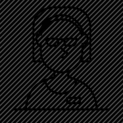 avatar, female, girl, glasses, person, user, woman icon