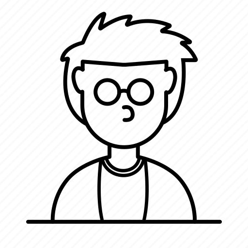 avatar, glasses, male, man, messy, person, user icon