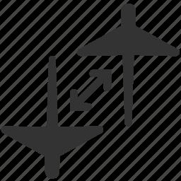 change flight, connecting flights, flight, flight connections, transfer, transit, transition icon