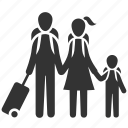 family, flight, passengers, travel, travellers, vacations, holiday icon