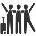 friends, gang, group, passengers, travel, travellers, vacations icon