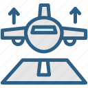 aeroplane, aircraft, airport, aviation, fly, plane, takeoff icon