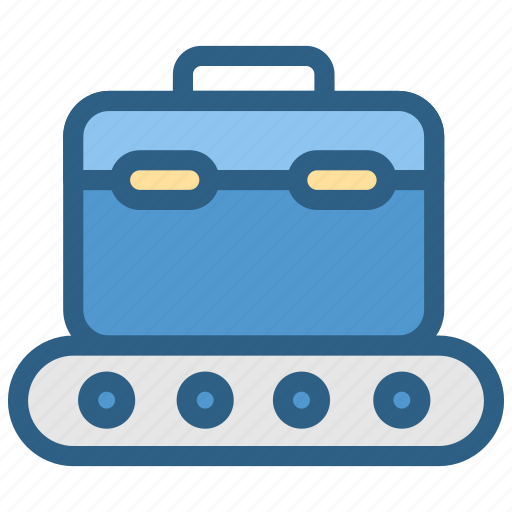 airport, aviation, baggage, band, case, check, conveyor icon