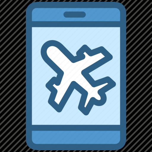 airport, aviation, plane, smartphone icon