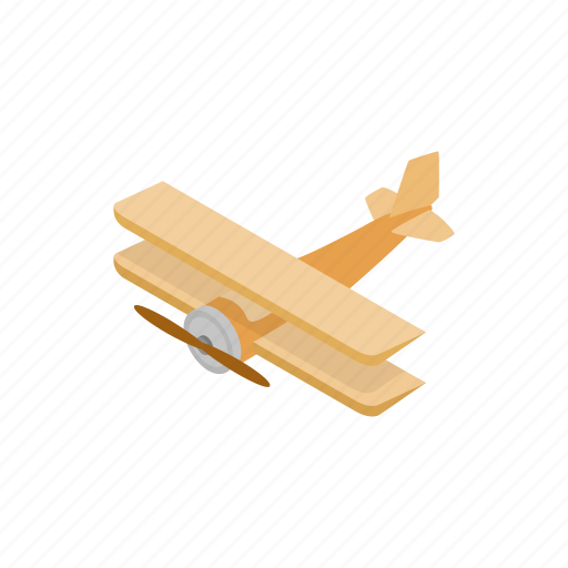 aircraft, aviation, biplane, isometric, old, plane, propeller icon