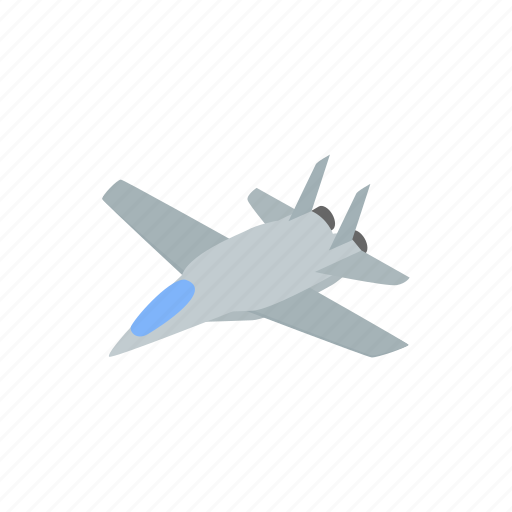 aircraft, airplane, fighter, force, isometric, jet, military icon