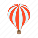 isometric, flight, balloon, air, striped, aerostat, travel