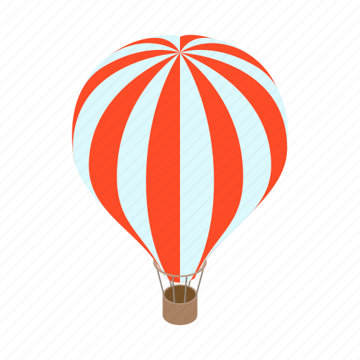 aerostat, air, balloon, flight, isometric, striped, travel icon