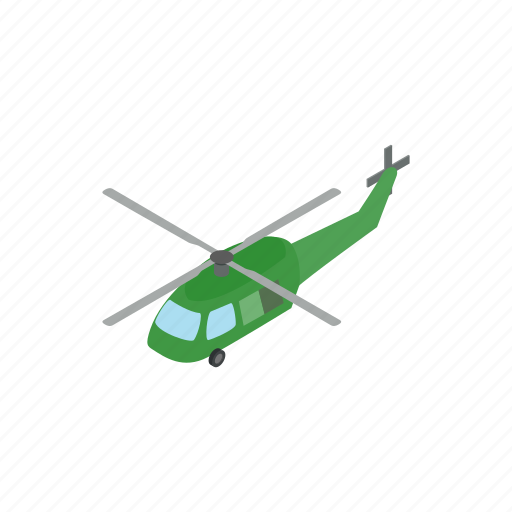 aircraft, army, helicopter, isometric, military, transportation, war icon