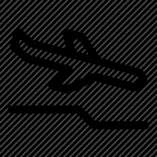 aircraft, airplane, aviation, landing failure, plane, runway overrun icon