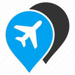 airport, airports, aviation, location, map markers, navigation, pointers icon