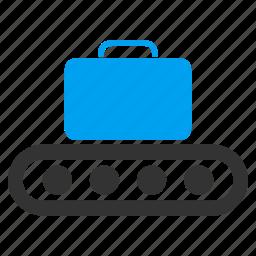 bag, baggage, baggage conveyor, briefcase, case, luggage transportation, registration icon