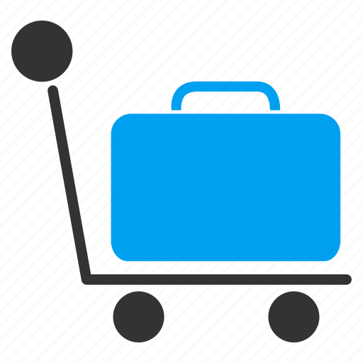 bag, baggage cart, case, journey, luggage trolley, suitcase, transportation icon
