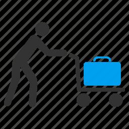 baggage cart, basket, luggage, passenger, shopping, transportation, trolley icon