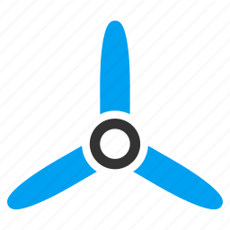 cooler, fan, flight, propeller, rotor, three bladed screw, turbine icon