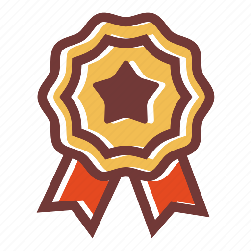achievement, award, badge, medal, ribbon, star icon