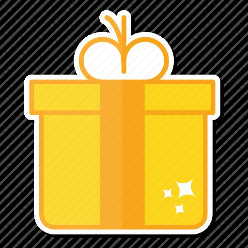 celebration, christmas, decoration, gift, gold icon