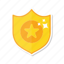 award, gold, shield, star icon