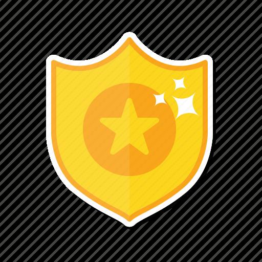 award, gold, shield, star icon