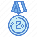 competition, medal, prize, silver icon