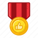 thumb, up, medal, award, prize, badge, achievements icon