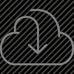 arrow, cloud, download, downloads icon