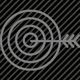 aim, arrow, bullseye, creative, goal, shooting, target icon