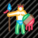 antique, aztec, civilization, gold, pyramid, shield, spear icon