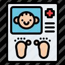 baby, childhood, footprints, memory icon