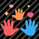 handprint, family, hands, baby, mom, dad, art icon