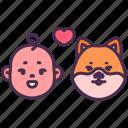 dog, baby, pet, kid, friend, animal, shiba