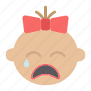 baby, child, cry, face, girl, head, infant icon