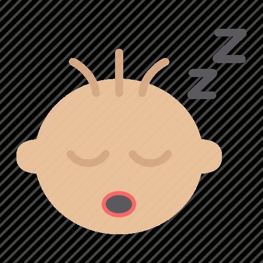 baby, boy, child, face, head, infant, sleep icon
