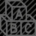 abc, alphabet, block, childhood, cube, letter, toy