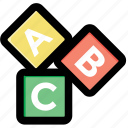 abc block, alphabet blocks, education, english, kindergarten icon