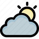 cloud, sun, sun beam, sunny cloud, weather icon